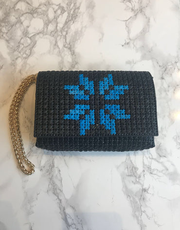 Embroidered Handmade Clutch - Blue Stars