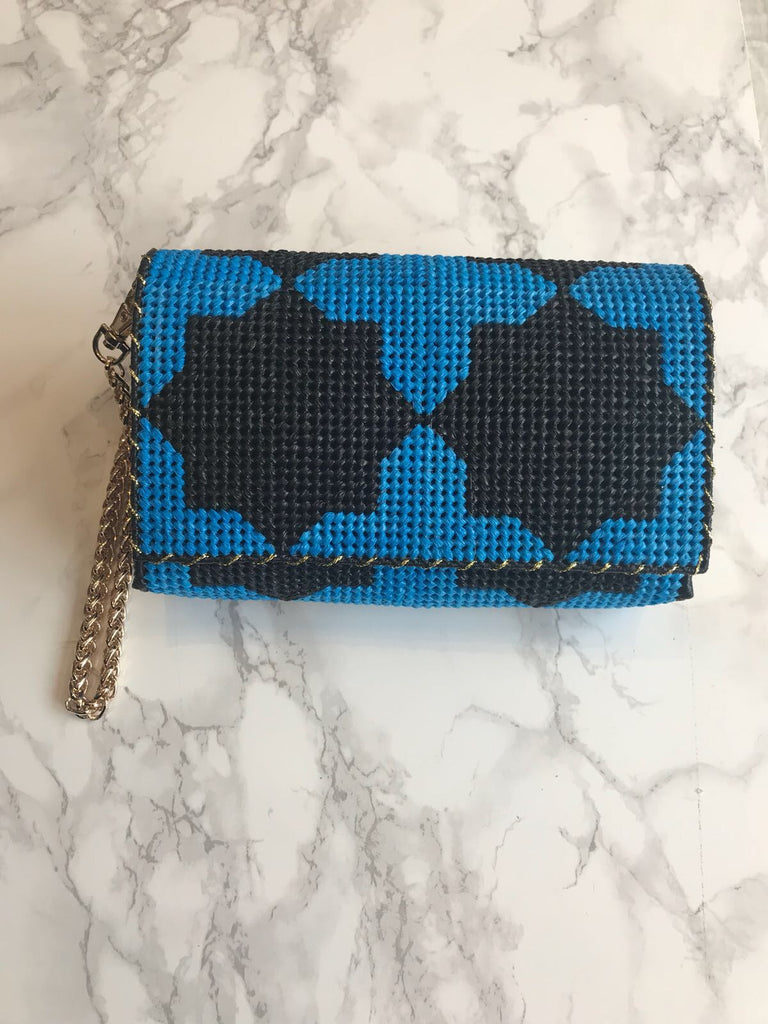 Embroidered Handmade Clutch - Thamania Dark Blue (Small)