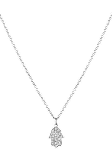 Chamsa Pendant White Gold Diamond Pave Hand Necklace