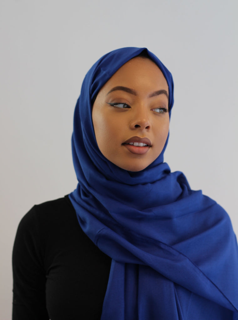 Aidijuma Royal Blue Plain Cotton Viscose Scarf