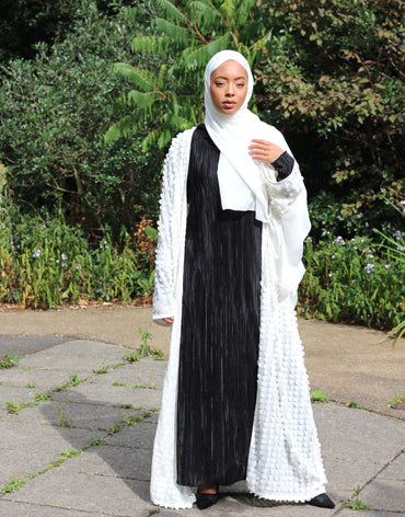 Classic White Salma Kimono Abaya with circular bubble detail