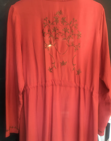 Classic Maleehah Embroidered Open Abaya Burnt Orange