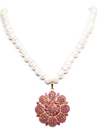 INDIAN INSPIRED RUBY FLOWER NECKLACE - Haute Elan