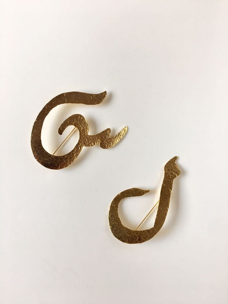 Brooch Gold Arabic Letter