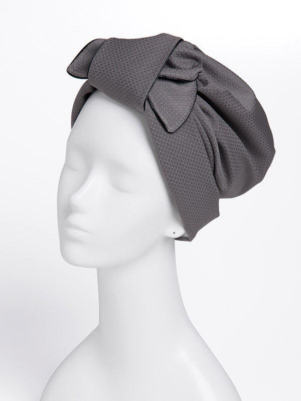 JACQUARD TURBAN RIBBON GREY - Haute Elan