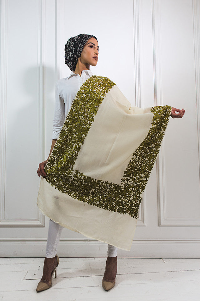 White & Green  border Shawl