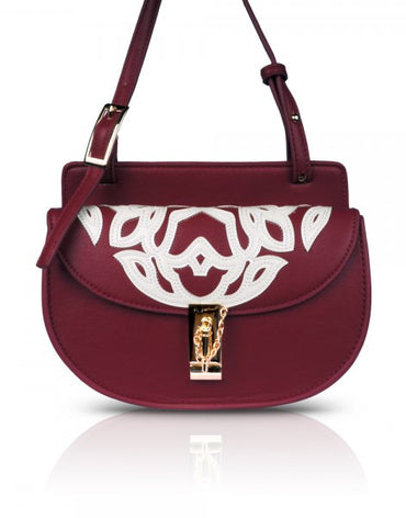 Dark Red Mini Moon Cross-body Bag - Haute Elan