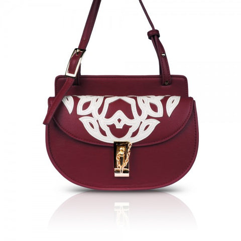 Dark Red Mini Moon Cross-body Bag