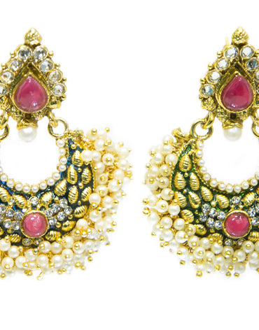 KUNDAN STYLE EARRINGS - Haute Elan
