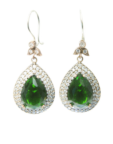 LARGE AMINA EMERALD QUARTZ EARRINGS - Haute Elan