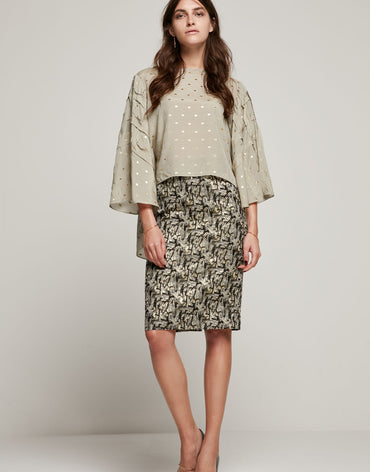 Brocade Black Skirt - Haute Elan