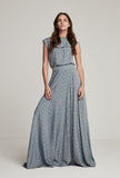 Blue Polka Dot Maxi Skirt