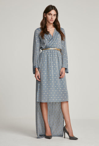 Blue High-Low Polka Dot Dress