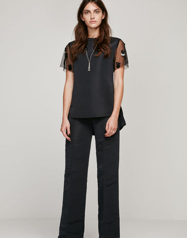 Navy Blue Grosgrain Top & Pants (Full Set) - Haute Elan