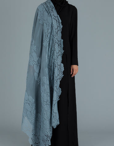 Pigeon Blue Lace on Pigeon Blue Shawl - Haute Elan