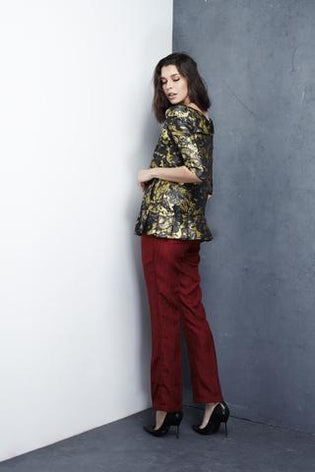 Brocade Pleated Blouse - Haute Elan