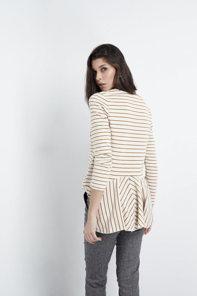 Relaxed Striped Brown Top