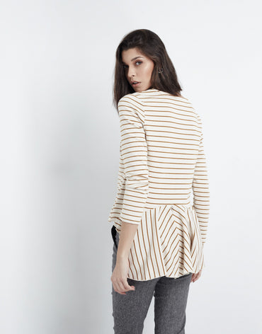 Relaxed Striped Brown Top - Haute Elan