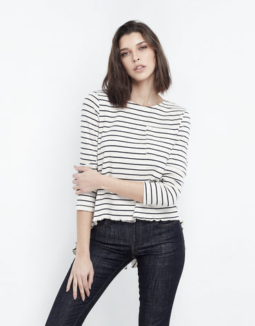 Relaxed Striped Navy Top - Haute Elan