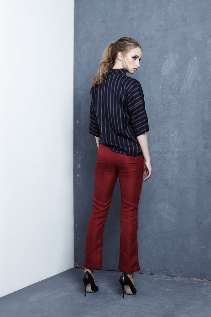 Red Straight-Leg Trousers - Haute Elan