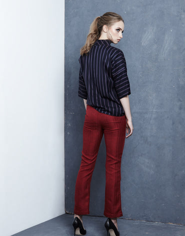 Red Straight-Leg Trousers