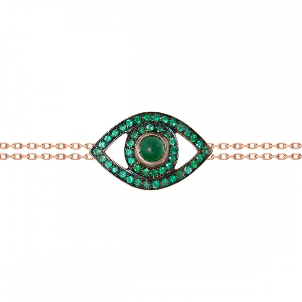 Eye Bracelet in Rose Gold with Emeralds