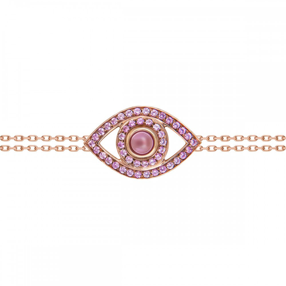 Big Eye Rose Gold Pink Sapphires Bracelet - Haute Elan