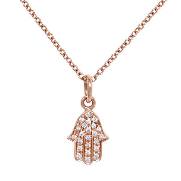 Chamsa Pendant Rose Gold Diamond Pave Hand Necklace