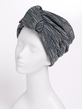TWEED RIBBON TURBAN BLACK