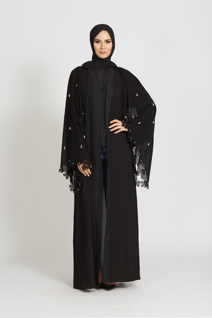 Pearl Detailed Open Jacket Abaya