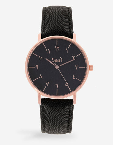 ITHNAAN - Noir/Rose Gold - Black Leather