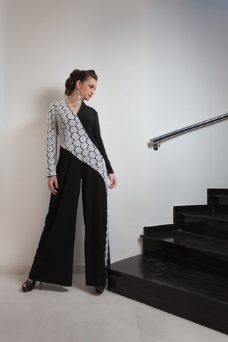 Samarah Black with White Sashay Jumpsuit