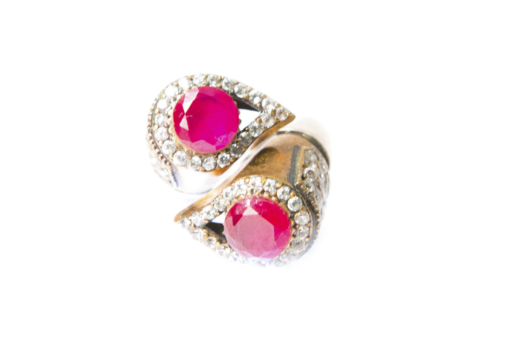SHARIFA DOUBLE TEARDROP RING