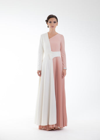 Sophia Semi Coat & One Shoulder Maxi Dress