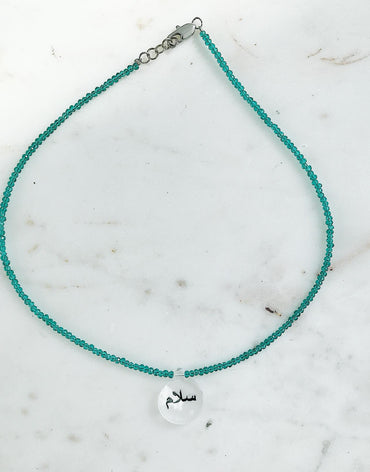 Peace 'Salaam' Mint Beads Necklace