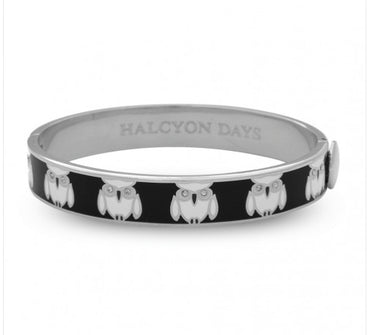 Owl Black & Palladium Bangle - Haute Elan