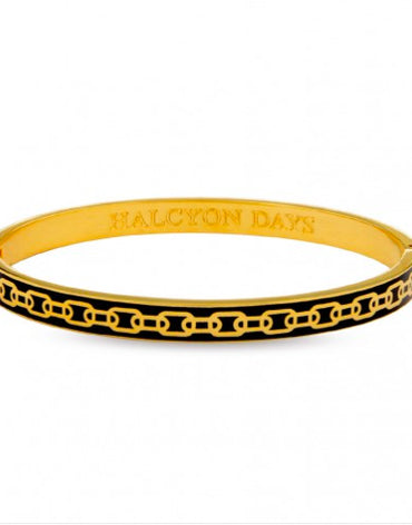 Skinny Chain Black & Gold Bangle - Haute Elan