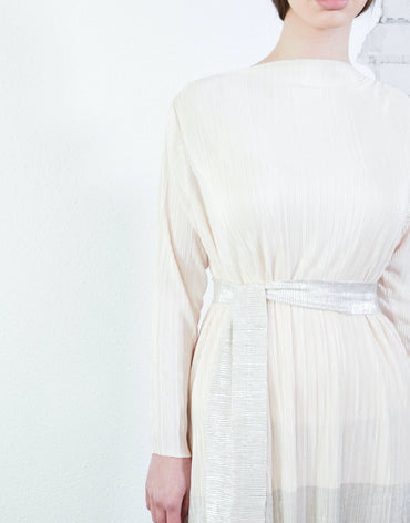 Off-white/silver Rome Classic Pleat Dress