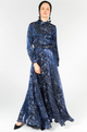 BLUE LEOPARD PRINT BELTED FLARED MAXI DRESS - Haute Elan