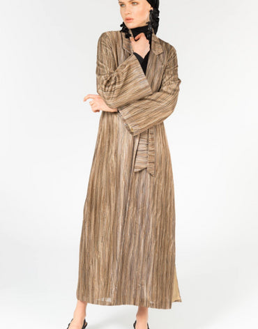 STRIPED LONGLINE SLIT SIDE LIGHT COAT - Haute Elan