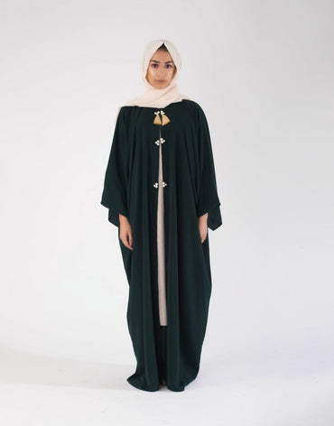 | The Oversized Pearl Abayah | Dark green