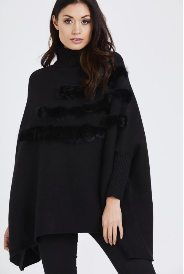 Fur Layered Roll Neck Poncho