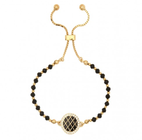 AGAMA SPARKLE BLACK & GOLD BEADED FRIENDSHIP BRACELET - Haute Elan