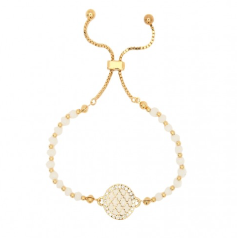 AGAMA SPARKLE CREAM & GOLD BEADED FRIENDSHIP BRACELET - Haute Elan