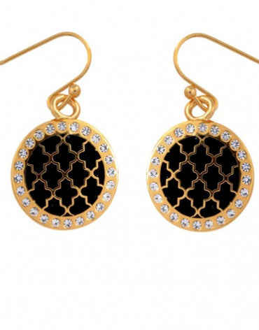 AGAMA SPARKLE BLACK & GOLD EARRINGS - Haute Elan