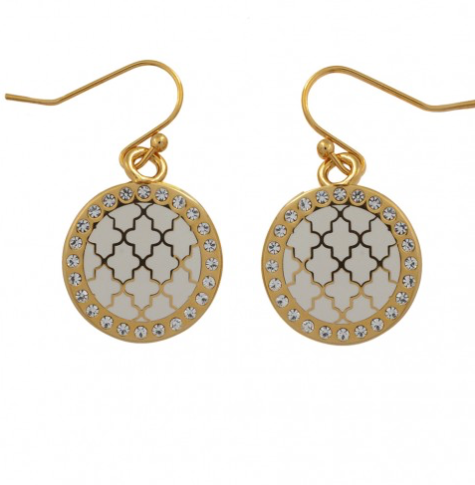 AGAMA SPARKLE CREAM & GOLD EARRINGS - Haute Elan