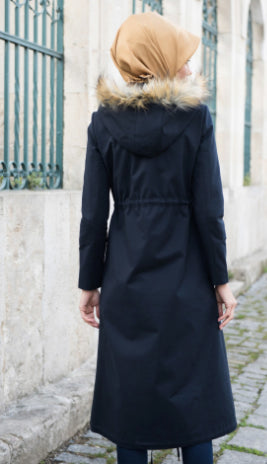 Abacı Navy Hooded Cashmere Coat - Haute Elan