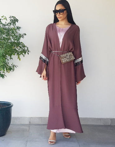 Grape Beaded Tassle Abaya - Haute Elan
