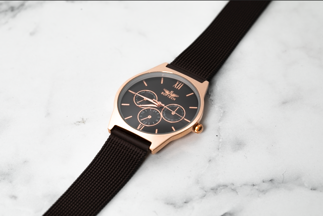 Black strap and Gold Face Watch - Haute Elan