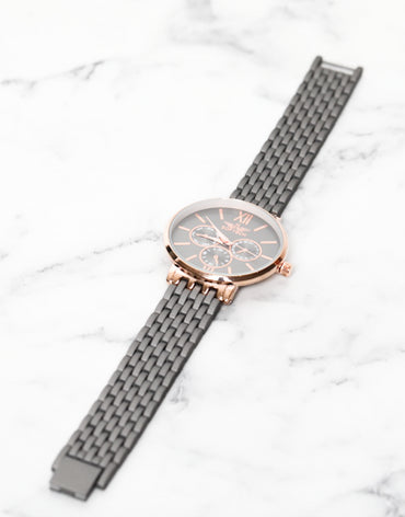 Gun Metal and Rose Gold Watch